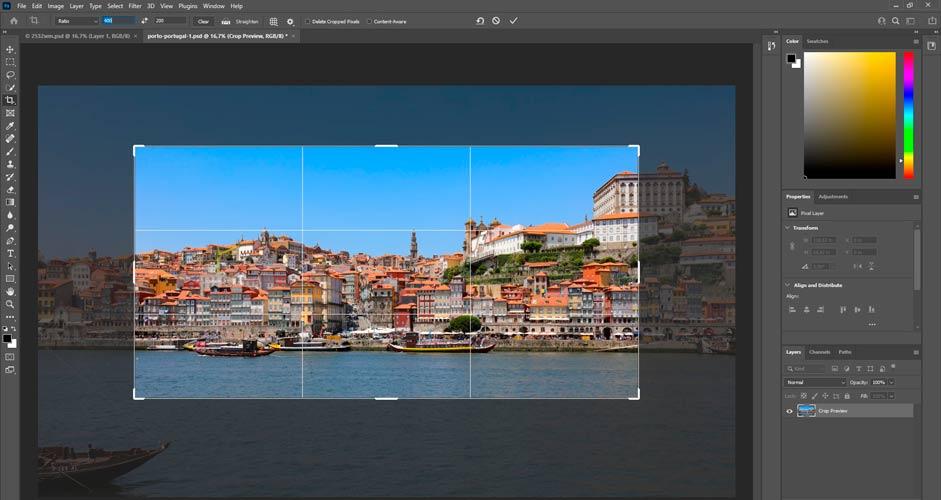Kuvasuhde ja rajaus - Photoshop